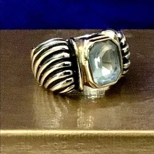 Silver And Gold  Aquamarine Ring